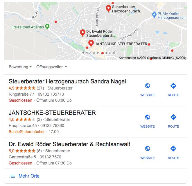 Bild des Local Pack - die drei besten Suchergebnisse in der Nähe