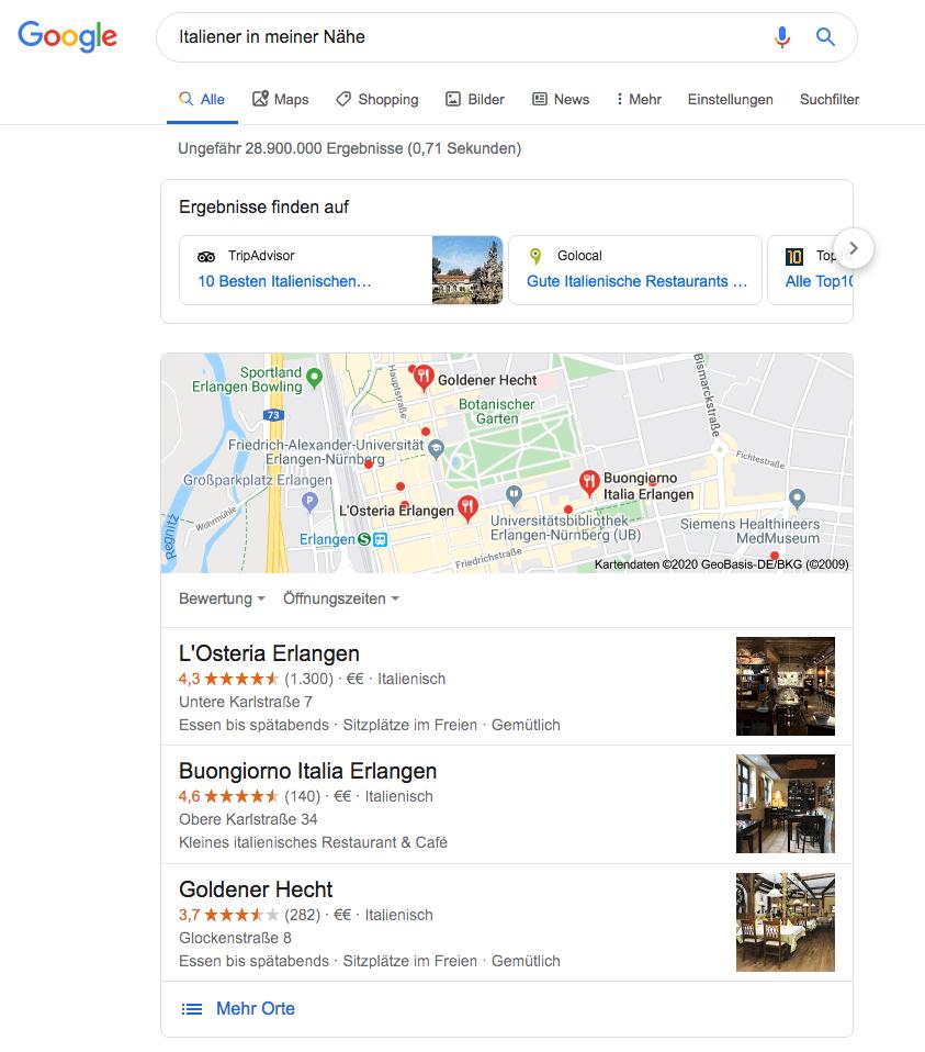 Google Suchergebnis mit Local SEO Optimierung von die Mediaberater